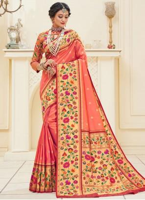 Peach Weaving Sangeet Designer Traditional Saree