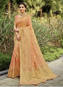 Peach Weaving Silk Traditional Saree