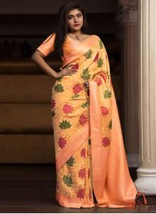 Peach Weaving Wedding Classic Saree