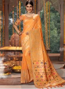 Peach Wedding Traditional Saree