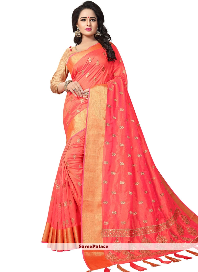 fee46be693 Buy Peach Woven Art Silk Traditional Saree Online