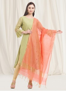 Peach Woven Sangeet Designer Dupatta