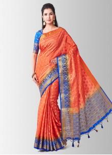 Peach Zari Ceremonial Designer Traditional Saree