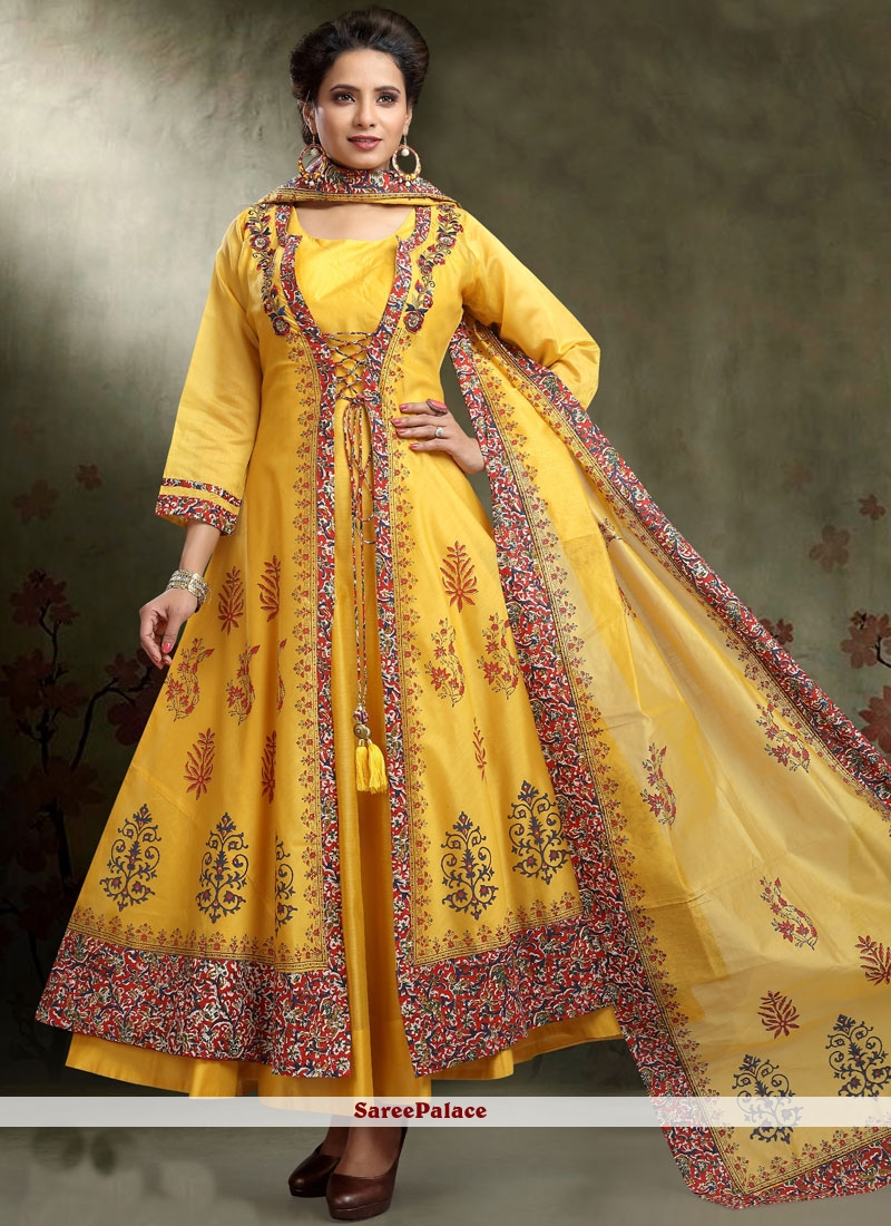 4eeb54405acd Buy Peppy Embroidered Work Chanderi Cotton Readymade Anarkali Suit Online