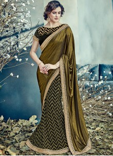 Peppy Net Black and Gold Lehenga Saree