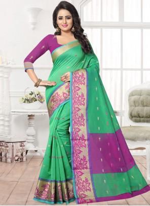Peppy Patch Work Work Green Silk Saree
