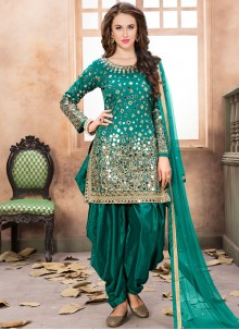 Peppy Sea Green Tafeta silk Designer Patiala Suit