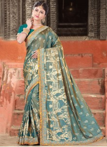 Perfect Art Silk Teal Embroidered Work Designer Traditional Saree