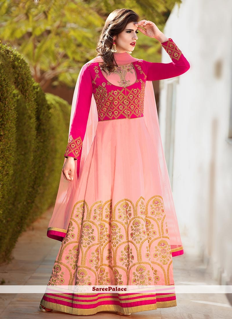 Perfect Banglori Silk Zari Work Floor Length Anarkali Suit