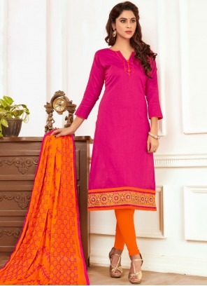 Perfect Hot Pink Embroidered Work Churidar Suit