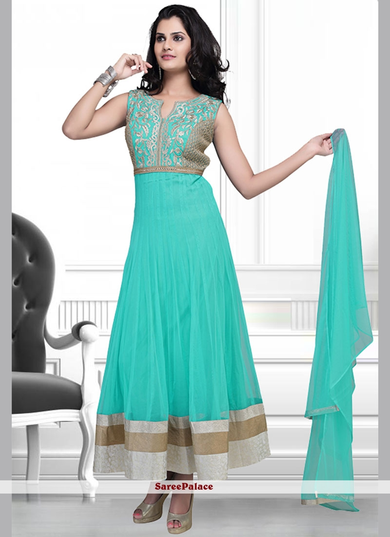 e68b8d7917 Buy Perfect Lace Work Turquoise Net Anarkali Suit Online