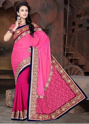 Perfect Pink And Fuchsia Half N Half Chiffon Satin Saree