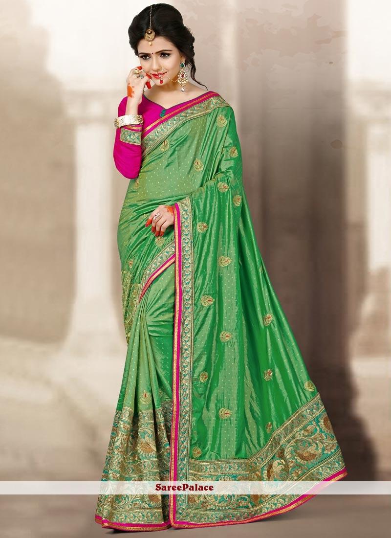 Perfect Sea Green Jacquard Silk Designer Traditional Saree