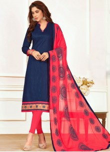 Perfervid Embroidered Work Cotton   Navy Blue Churidar Suit