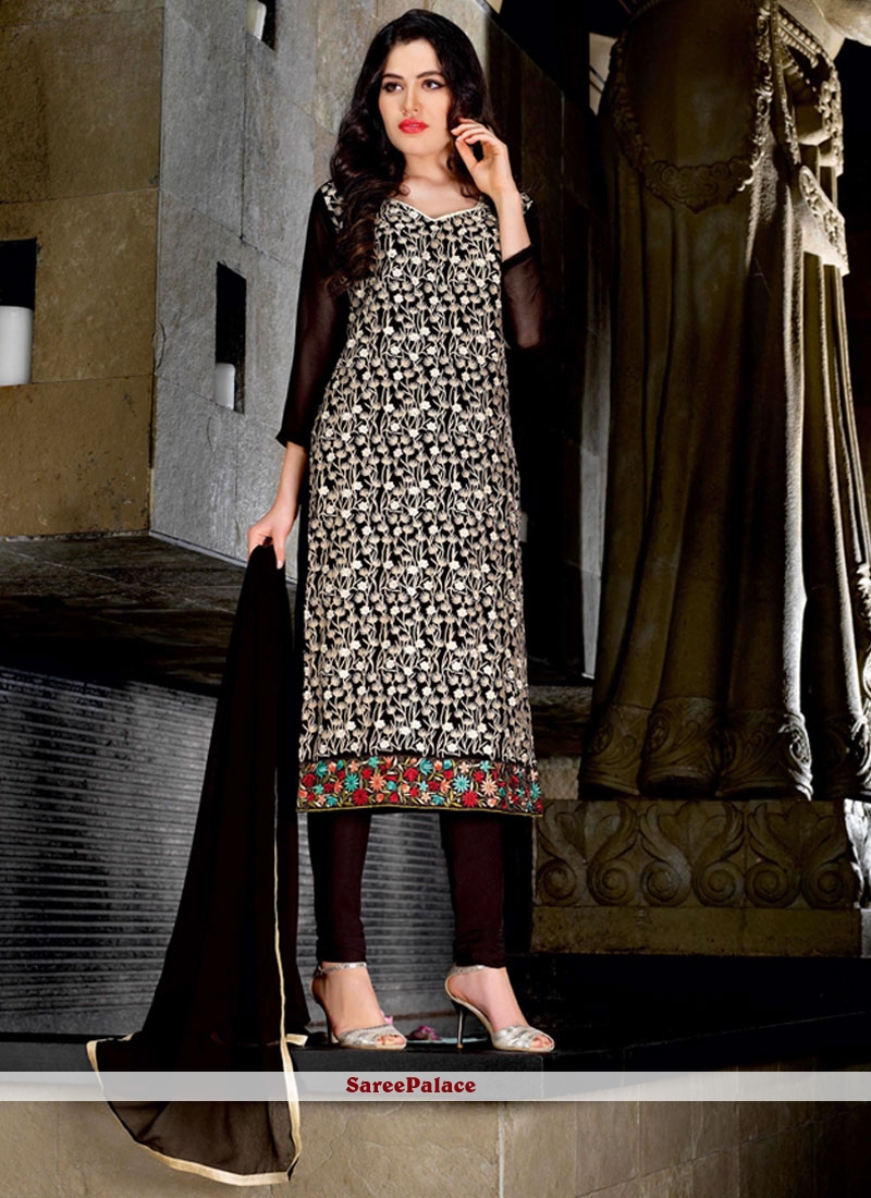 Perfervid Faux Georgette Embroidered Work Trendy Churidar Suit