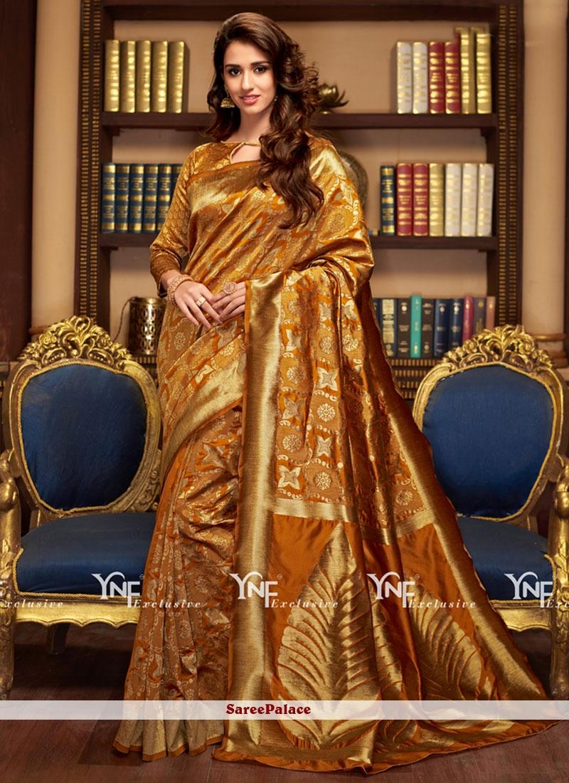 Perfervid Gold Traditional  Saree