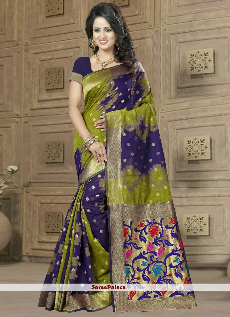 Perfervid Green and Navy Blue Banarasi Silk Traditional  Saree