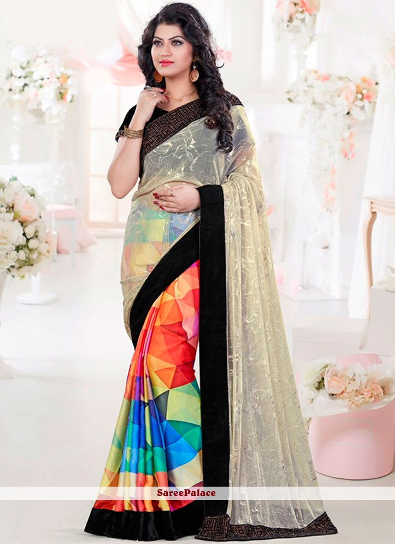 Perfervid Multi Colour Patch Border Work Net Printed Saree