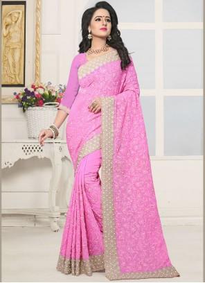 Perfervid Pink Stone Work Faux Georgette Designer Saree