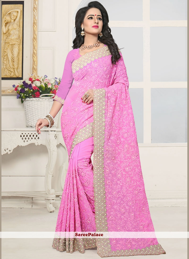 c3f73253fd Buy Perfervid Pink Stone Work Faux Georgette Designer Saree Online