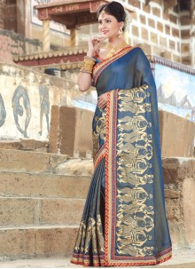 Phenomenal Navy Blue Embroidered Work Traditional  Saree