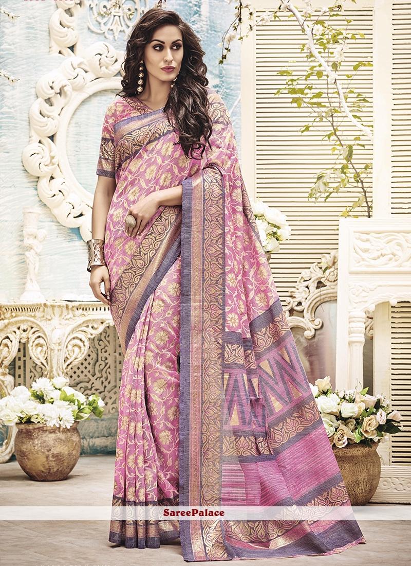 Picturesque Art Silk Pink Printed Saree
