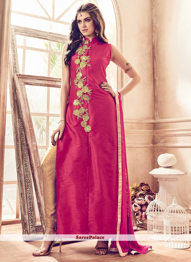 Picturesque Banarasi Silk Embroidered Work Pant Style Suit