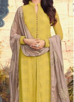 Picturesque Embroidered Work Georgette Straight Suit
