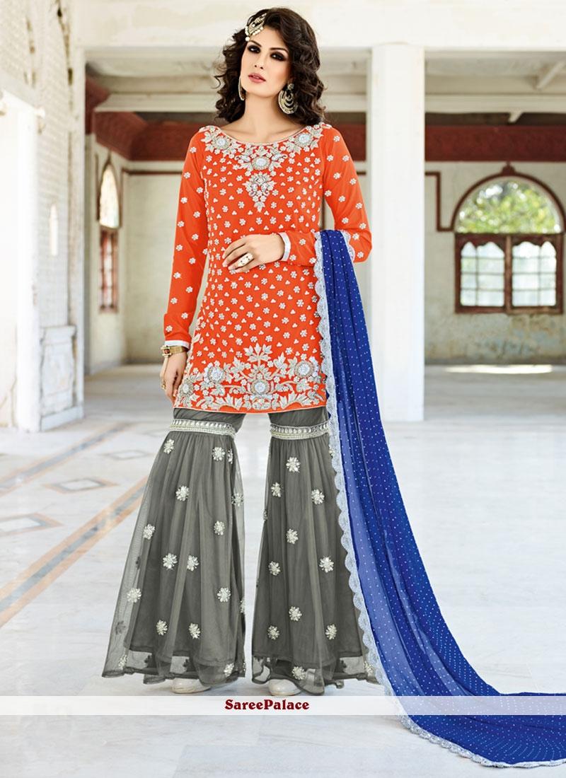 Buy Picturesque Fancy Fabric Grey And Orange Designer Pakistani Salwar Suit Online
