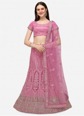 Pink A Line Embroidered Lehenga Choli