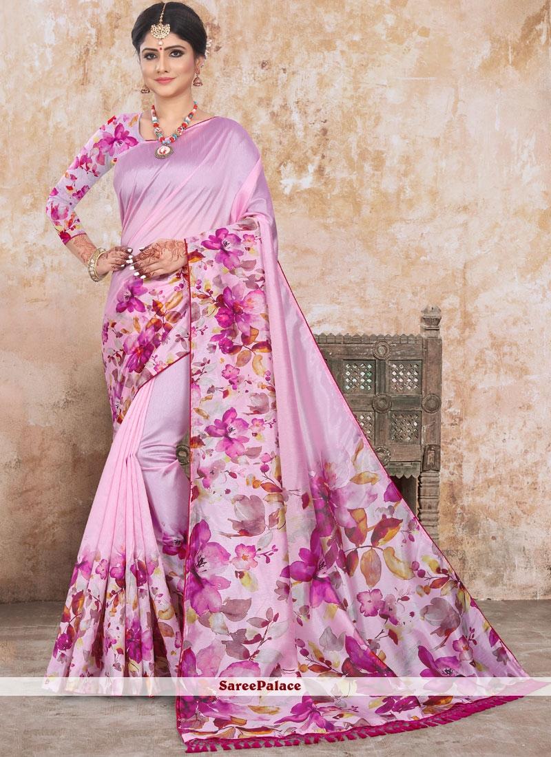Pink Abstract Print Art Silk Saree