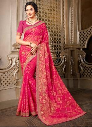 Pink Abstract Print Classic Designer Saree