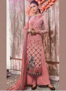 Pink Abstract Print Designer Pakistani Suit