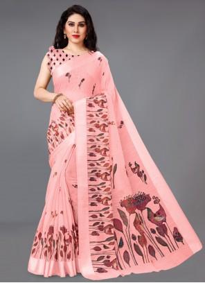 Pink Abstract Print Saree