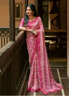 Abstract Print Faux Georgette Pink Printed Saree
