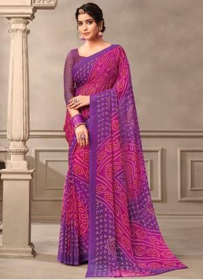 Pink and Purple Abstract Print Saree