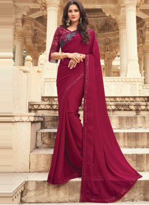 Pink and Purple Ceremonial Silk Shaded Saree