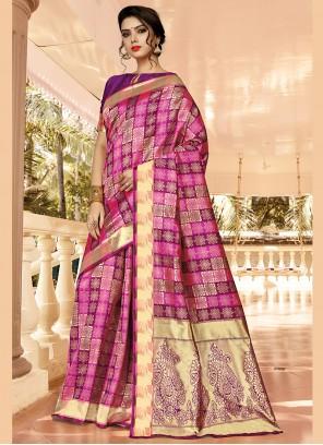 Pink and Purple Jacquard Silk Designer Traditional Saree