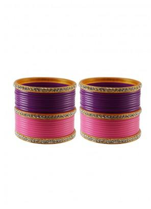 Pink and Purple Stone Work Wedding Bangles