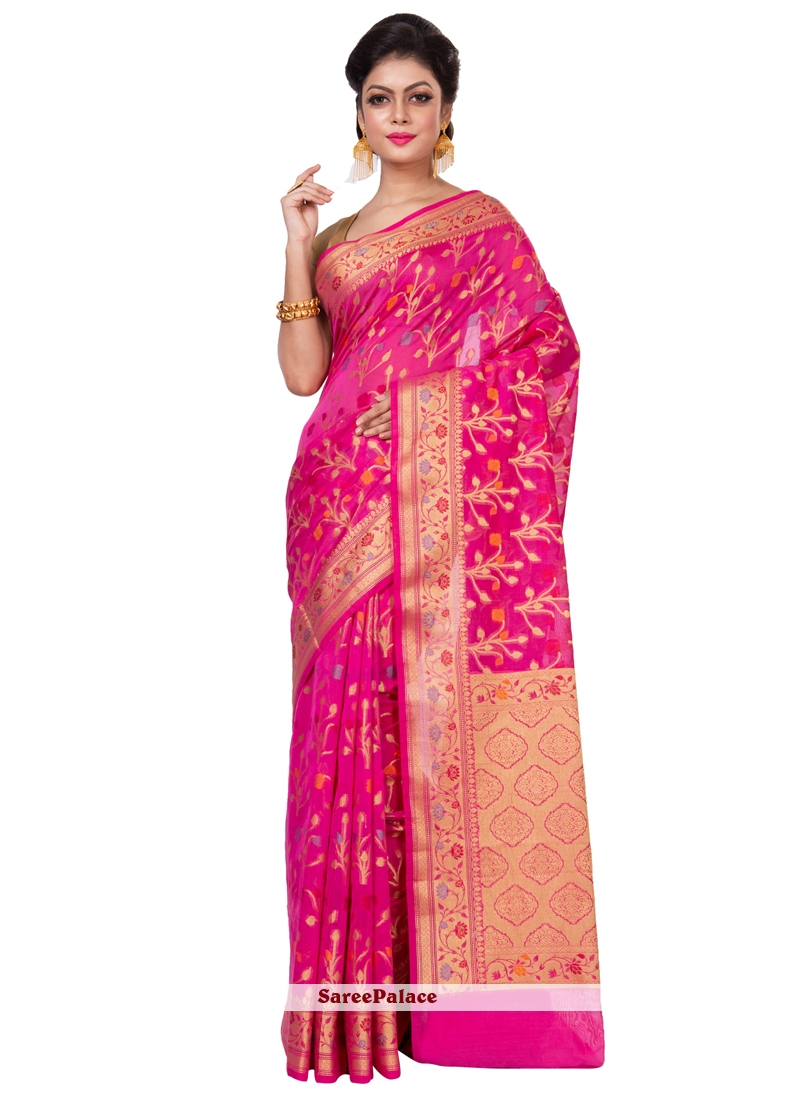8a27aff5d2 Buy Pink and Rani Weaving Work Chanderi Designer Saree Online
