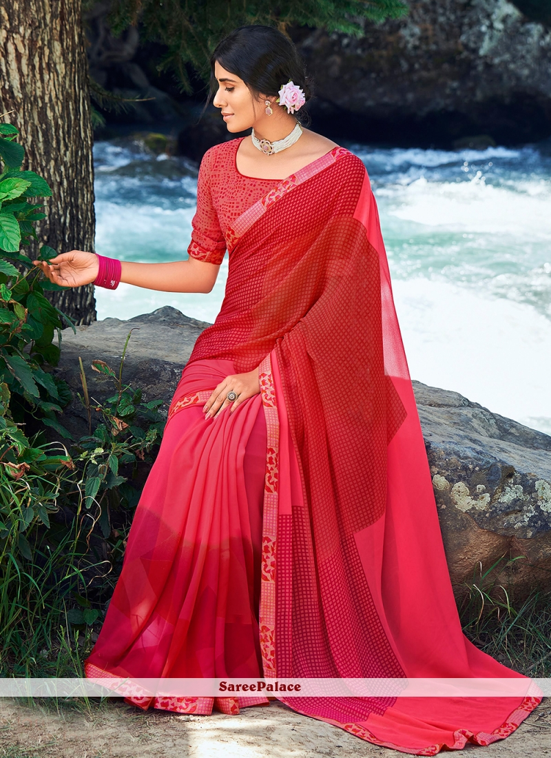 Pink and Red Faux Georgette Abstract Print Casual Saree