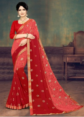 Pink and Red Festival Shaded Saree