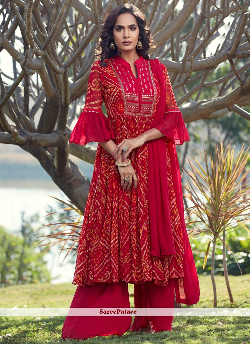 Pink and Red Georgette Festival Readymade Suit