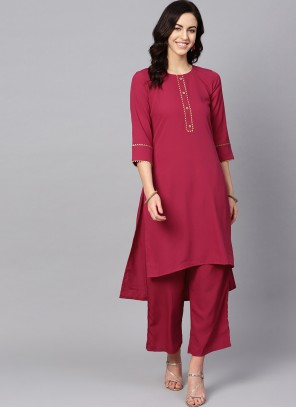 Pink and Red Plain Faux Crepe Casual Kurti