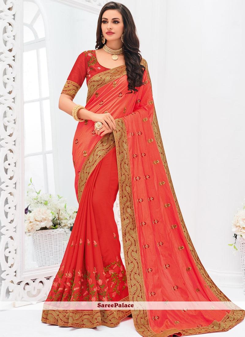 Pink and Red Wedding Art Silk Half N Half Trendy Saree