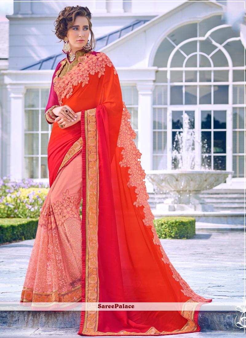 Pink and Red Wedding Half N Half  Saree