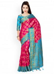 Pink and Turquoise Weaving Work Kanchipuram silk Designer Saree
