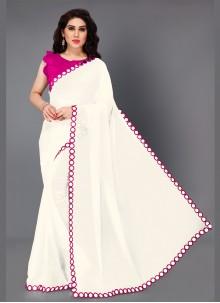 Pink and White Classic Saree
