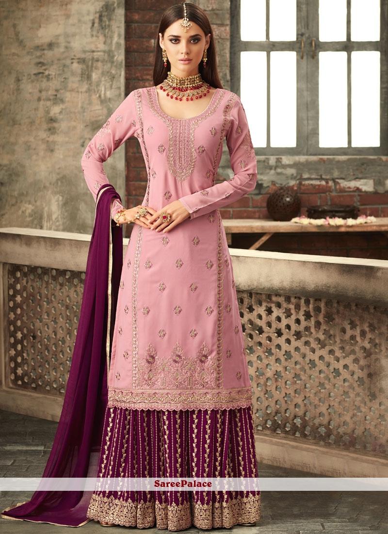 Pink and Wine Designer Palazzo Suit