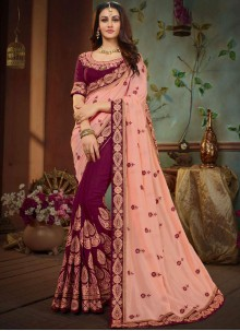 Pink and Wine Patch Border Art Silk Designer Half N Half Saree